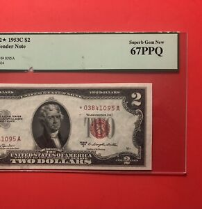 1953C-$2  RED SEAL ****STAR****NOTE,GRADED BY PCGS SUPERB GEM NEW 67 PPQ……DEAL