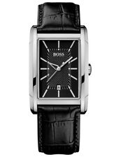 new + box HUGO BOSS men's BLACK RECTANGULAR LEATHER BRACELET Watch 1512619