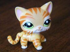 Littlest Pet Shop #1451 Yellow striped tiger cat with green eyes