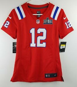 Tom Brady #12 New England Patriots Women's Small Super Bowl LIII Red Jersey RARE