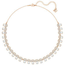 NWT SWAROVSKI GALLERY SQUARE ALL-AROUND CLEAR CRYSTAL NECKLACE ROSE GOLD 5273207