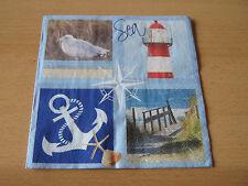 2 Servietten/Napkin,Leuchtturm, Möwe, Anker, Dünen,Lighthouse, Seagull, anchor,