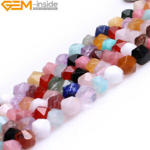 """Natural Colorful Mixed Semi-Precious Gemstone Polygonal Faceted Round Beads 15"""""""