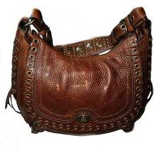 Coach Vintage TOBACCO Brown LG Abbey Lace Flap Leather Satchel HOBO Purse Bag