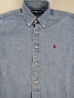 Polo Ralph Lauren Blair Blue Denim Button Down Shirt Size L Oversized