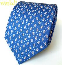 SALVATORE FERRAGAMO periwinkle blue DANCING PENGUINS silk MENS tie NWT Authentic