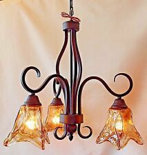 New 3 light Dark Bronze chandelier with amber hand blown glass