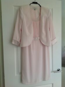 WEDDING OUTFIT BY DUSK BABY PINK DRESS & JACKET SIZE 12 EX CONDITION