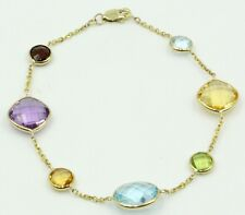 "Multi-Color Gemstone Bracelet With 14k Yellow Gold 7"" Long"