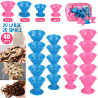 40x Magic Silicone Hair Curlers Rollers No Heat Formers Styling Curling DIY Tool