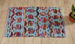 Chindi Rag Rug X Large Handmade Turquoise Colour Rugs Area Mat Recycled Indian
