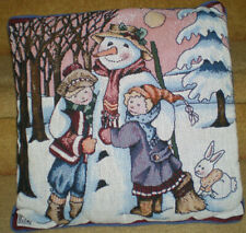 Mary Engelbreit Tapestry Throw Pillow Kids With Snowman