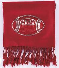 "Red Football Bling Pashmina Scarves (28""W x 75-1/4""L) Brand New   #S109"