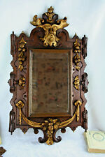Antique 19thc Wood carved gothic castle Devil satyr head mirror