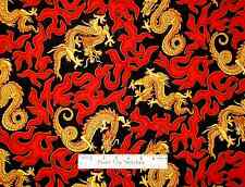 Dragon Fabric - Golden Beige Asian Dragons With Red Flames Fire On Black - Yard
