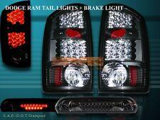 02 03 04 05 06 DODGE RAM 1500/2500/3500 TAIL LIGHTS+3RD BRAKE LIGHT BLACK LED