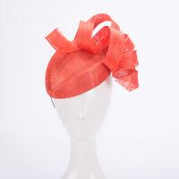 Orange Women Kentucky Derby Sinamay Fascinator Wedding Hat Headpiece T435