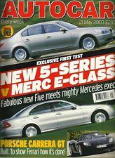 Autocar 21st May 2003 5-series, E-class, Land Cruiser, RX300, 360, Evo VIII, S80