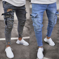 Biker Jeans Men Denim Ripped Skinny Destroyed Frayed Slim Fit Pocket Cargo Pants