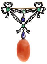Sapphire Antique 925 Silver Brooch Pin 1.44ct Rose Cut Diamond Coral Emerald
