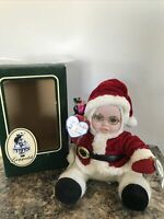 Geppeddo Porcelain Doll CUDDLE KIDS Stanley Santa CHRISTMAS In Box 2002
