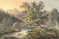 Tree by Mountain Stream – Original early 19th-century watercolour painting