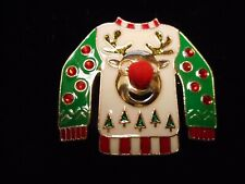Ugly Sweater ) Pin / Brooch New listing Wow Fantastic Vintage Christmas (