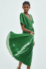 ZARA green velvet tie front midi dress