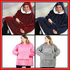 Women Warm Oversized Fleece Blanket Hoodie Men Sweatshirt Hooded Pocket Sleeves