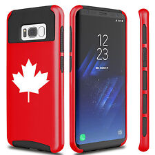 For Samsung S5 S6 S7 Edge S8 + Dual Shockproof Hard Soft Case Cover Maple Leaf