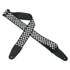 """Levy's - MP-28 - 2"""" Polyester Guitar/Bass Strap - Black/White Checkered Flag"""