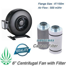 "6"" Inline Centrifugal Fan W/ HARVEMAX Hydroponics Carbon Filter Smell Remove Kit"