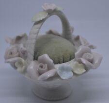 Vintage Ardalt Bone China White Flower Basket Pin Cushion Pastel Flowers Japan