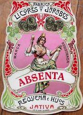 Absinthe: 1900 ORIGINAL Bottle Label - Art Nouveau - Requena y Hijos, Jativa
