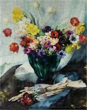 Oil painting Fernand Toussaint - vase de fleurs et rideau blanc flowers in vase