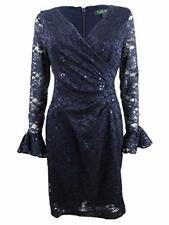 LAUREN RALPH LAUREN Womens Agnes Embelished Lace Front Party Dress Navy 2