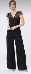 Review Casino Black Lace Playsuit Jumpsuit Size 8