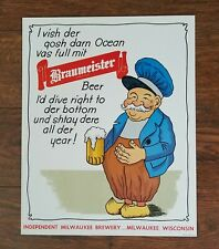 Braumeister Beer cardboard advertising sign Independent Milwaukee Brewery