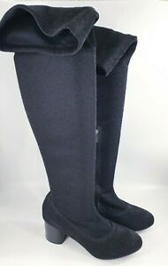 Lilley size 6 (39) black sparkly fabric side zip block heel over the knee boots