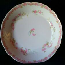STUNNING RARE HAVILAND LIMOGES SOUP BOWL PRETTY PINK FLOWERS &  BLUE RIBBONS