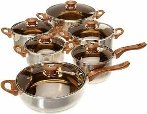 12 Pieces Stainless Steel Cookware Set Pots Sauce Pans Frying Pan Set, Silver