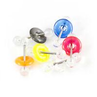 "6 Tongue Rings Barbells Acrylic Clear Balls & Color Doughnut 14G 5/8"""