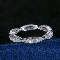 Women Elegant 925 Silver Rings Jewelry White Sapphire Wedding Ring Size 6-10