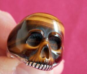 David Yurman Men's SSilver Exotic Carved Tiger's Eye Skull Ring size 9