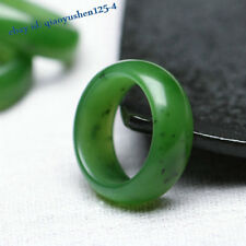 China Hetian Spinach Green Jade Jasper Hand Carving Women's And Men Couple Ring