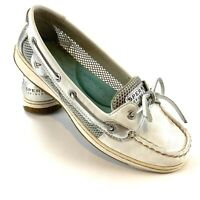 Sperry Top-Sider Angelfish Boat Shoes Womens Size 8.5 White Leather Silver