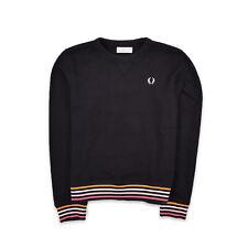 Fred Perry Damen Sweater Sweat Tracktop Gr.38 Sweatshirt Schwarz 95656