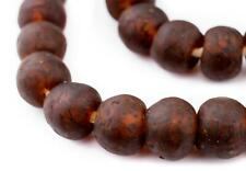 Amber Black Swirl Recycled Glass Beads 18mm Ghana African Sea Glass Brown Round