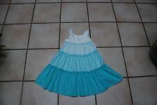 """Robe Bain de soleil à volants""""H&M""""bleu turquoise dégradé T128 ou 7/8ans TB Etat!"""