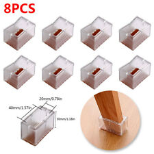 8 X Square Silicone Wood Floor Protectors Chair Leg Caps Wraps Table Feet Cover